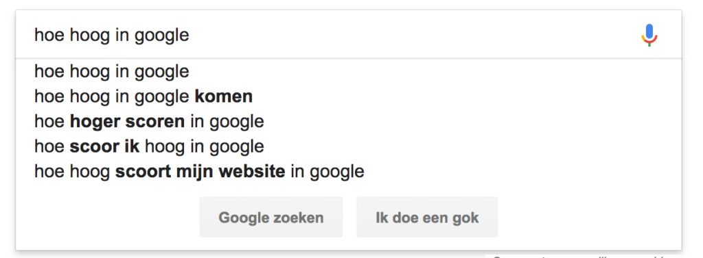 Zoeksuggesties Google